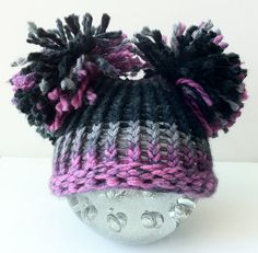 Newborn Baby Hat  Knit Purple Pink Black & Grey Gray by inamood, $15.00