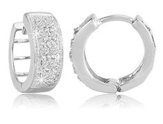 $27.99 - 1/10 Carat Diamond Sterling Silver Huggie Earrings
