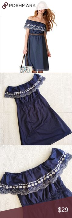 """Calypso St Barth Off Shoulder Embroidered Dress Calypso St Barth for Target size medium off shoulder navy dress with white embroidery. In excellent condition. Washes beautifully and doesn't come out wrinkly. Approximately 34"""" long from top middle. 100% cotton. Calypso St. Barth Dresses Midi"""