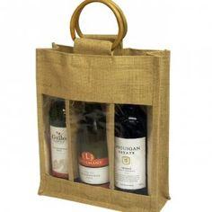 Lot de 2x en toile de jute jute/Vin Spiritueux 3sacs cadeau pour bouteille 36x 28x 28x 10cm, poignées avec Windows et canne