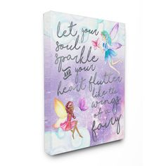 Stupell Let Your Soul Sparkle Fairies' Painting Stretched Canvas Wall Art