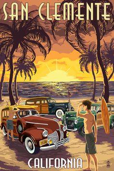 San Clemente, California - Woodies & Sunset - Lantern Press Poster