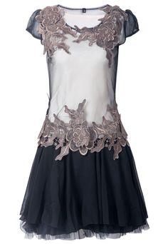 Mesh Cap Sleeve Embroidery Dress