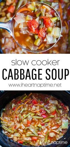 This crockpot cabbage soup is not only delicious and flavorful but chock full of vegetables with lots of fiber and is very satisfying. All you need to do is dump everything in the slow cooker and let it do the work for you! Vegetable Soup Healthy, Vegetarian Soup, Slow Cooker Soup, Slow Cooker Recipes, Potato Cheese Soups, Make Ahead Lunches, On The Go Snacks, Crockpot Dishes, Best Dinner Recipes