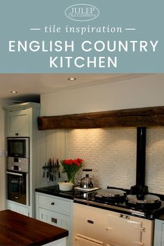 Nestled in the English countryside, this kitchen beautifully mixes rustic elements with soft colors to create a perfectly cozy space. Country Kitchen Tiles, English Country Kitchens, English Country Decor, French Country Decorating, Kitchen Backsplash, Backsplash Ideas, French Kitchens, Country Style, Kitchen Tile Inspiration
