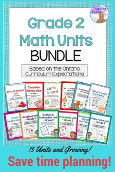 Use this growing bundle of Ontario Math units based on the Ontario Curriculum Expectations for Grade 2 to save time planning !  It contains over 500 pages of lesson ideas, worksheets, posters, assessments, quizzes, games, and activities!