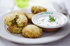 Courgette and Brie cakes with yogurt dip - Tesco Real Food