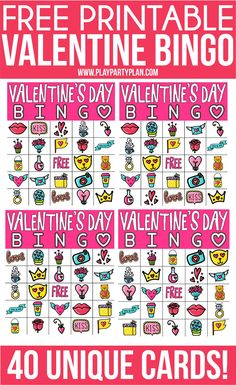These free printable Valentine bingo cards are perfect for the classroom, parties, or a fun night at home! A Valentines Day bingo game everyone will love! Valentine Bingo, Valentines Games, Valentines Day Funny, Printable Valentine, Valentine Ideas, Valentine Crafts, Valentine's Day Quotes, Pick Up, Valentine's Day Party Games