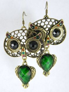 'Lucky Hooters Night Owls earrings brass filigree ' is going up for auction at 12am Sun, Sep 16 with a starting bid of $3.