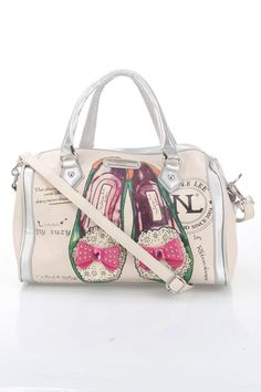 Shoes Satchel in Beige With unique designs and funky details, Nicole Lee has created a collection that is continuously pushing the envelope when it comes to hot fashion trends; Features dazzling ballet flat shoes with studded bows on front of handbag; Jewel embellishment; Nicole Lee logo on vegan leather; Top zipper closure; Dual faux patent leather handles; Extra removable strap SatchelBags #Handbags