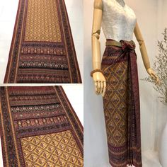 Thai Traditional Dress, Traditional Fashion, Traditional Outfits, Textile Pattern Design, Textile Patterns, Thailand Art, Thai Thai, Thai Fashion, Thai Dress