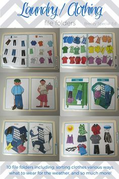 Laundry Life Skill File Folders Activities for Special Education Super awesome ideas.