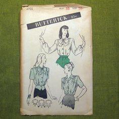 1940s Vintage Sewing Pattern WarEra Forties by SelvedgeShop