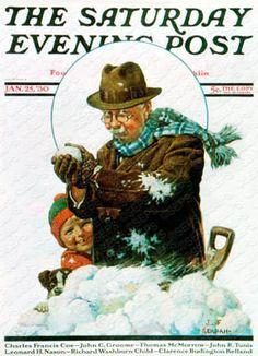 """Snowball Fight"" By J.F. Kernan. Issue: January 25, 1930. ©SEPS."