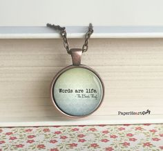 Book Lover - Necklace - Words Are Life - The Book Thief -  Quote - Markus Zusak - Writing - Gift - Writer - Storyteller - Author - (B9097)