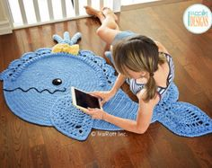 Joyce and Justin Whale Rug PDF Crochet Pattern Crochet Pattern PDF for making a beautiful Whale Animal Rug or Nursery Mat with… Half Double Crochet, Single Crochet, Crochet For Kids, Crochet Baby, Crochet Whale, Bernat Super Value Yarn, Whale Pillow, Animal Rug, Crochet Motif