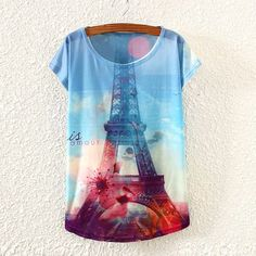 >> Click to Buy << 2017 Brand New Polyester T-Shirt Women Short Sleeve t-shirt o-neck Causal loose Eiffel Tower t shirt Summer tops for women #Affiliate