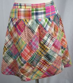 CAbi-Womens-Plaid-Patchwork-Back-Hook-Eye-Zip-Skirt-475-Cotton-Size-8