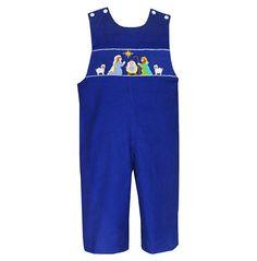 49747ed7729 Anavini Christmas Nativity Boys Smocked Blue Longall from Madison-Drake  Children s Boutique Drake Child