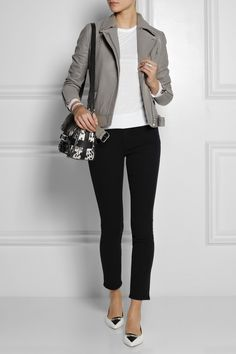 Majegray leather jacket, white tee / sweater, black skinny jeans