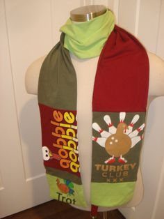 Thanksgiving Bowl Upcycled T-Shirt Scarf by SewcialStudies101