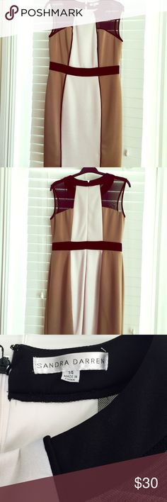 Size 14 Sandra Darren Dress Knee length black ivory Tan dress, rear zipper, the ivory parts of the dress get a little discolor due to wash!  Has black meshed tops of the shoulders 💕waiting for your offer 💕 Sandra Darren Dresses Midi