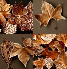 DIY : painted leaves - leaf - nature - autumn - fall - decor by toniCelebrate this fall with an undying vigor. Set the festive mood with these cost-effective, elegant, creative fall decoration DIY ideas.DIY Painted leaves: a little white paint and so Leaf Crafts, Diy And Crafts, Crafts For Kids, Arts And Crafts, Kids Diy, Crafts Home, Decor Crafts, Autumn Crafts, Nature Crafts