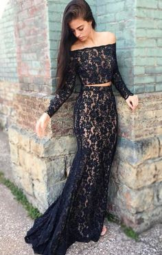 Appliques Lace Black Evening Dress, Sexy Beaded Mermaid
