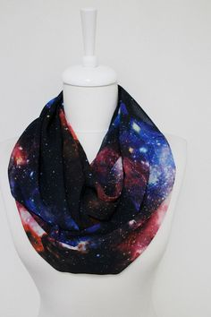 Nebula Space Galaxy Infinity scarf Loop Scarf Circle por Aslidesign