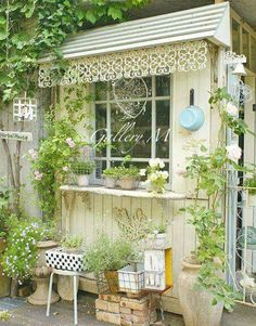 A lovely view of a masterpiece! Perfect garden shed!pin A lovely view of a masterpiece! Outdoor Spaces, Outdoor Living, Landscape Design, Garden Design, Pergola, Shabby Chic, Fire Pit Area, Potting Sheds, She Sheds