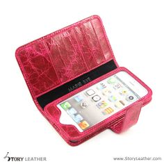Custom Made Red Wine Leather Cartera Wallet Case for iPhone 5S