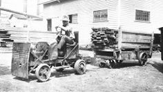 Booth Kelly Lumber Company, Springfield, Oregon, showing abbreviated Ford hauling lumber around yard | by OSU Special Collections &…