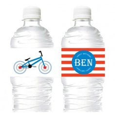 BMX Bike Juice Soda, Water labels/ drink wrappers (Personalised DIY Printables) http://ledingham.net.au/shop/kids-parties-kids-party-stationery/bmx-bike-party-theme.html
