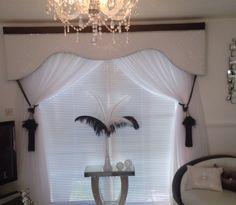 White jazz glitter pelmet with black velvet and bling trim