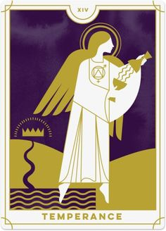 Detailed Tarot card meaning for Temperance including upright and reversed card meanings. Access the Biddy Tarot Card Meanings database - an extensive Tarot resource. Temperance Tarot Card, Tarot Major Arcana, Daily Tarot, Tarot Card Meanings, Tarot Readers, Oracle Cards, Tarot Decks, Illustration, Capricorn Traits