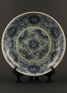 Jiaqing - Large blue and white dish with stylised floral decoration, derived from the Diana Cargo shipwreck dated to 1817