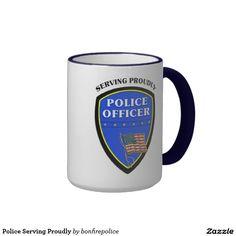 Police Serving Proudly Ringer Coffee Mug