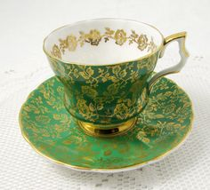 Royal Windsor Green Tea Cup and Saucer with Gold Chintz, Vintage Bone China