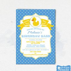 Rubber duck birthday invitation  thank you by MyPrintableMiracles
