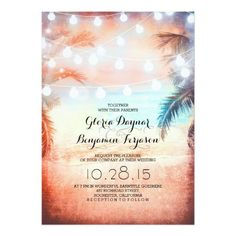 Absolutely romantic elegant and unique beach wedding invitation with hanging string of lights on the palm trees. Tropical and modern beach wedding invites featuring sunset - evening in shades of coral and ocean blue. Perfect for destination island wedding too.