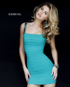 647b88e7f52 Sherri Hill 32046 Emerald Green Short Bandage Dress with exposed zipper and  beaded straps. - Homecoming 2015 - In Stock Now