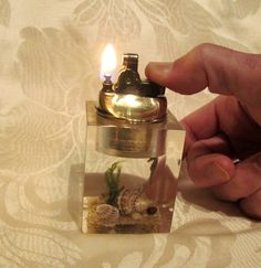 1950's Clearfloat Lucite Table Lighter Brass Seascape Working Lighter Sea Life