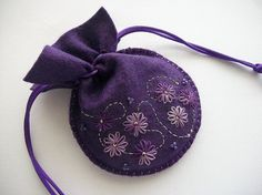 Purple Gift Bag Felt Compact Pouch with Hand Embroidered Flowers and Swirls Handsewn
