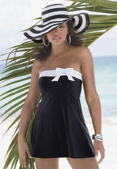 Roamans Plus Size Swimdress with White Side Bow - List price: $74.99 Price: $41.99
