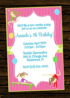 Gymnastics birthday party gymnastic party birthday invitation gymnastics birthday party invitations free stopboris Images