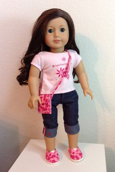 """Vera Bradley-style """"hipster"""" purse and matching Toms shoes for American Girl dolls - Ready to ship"""