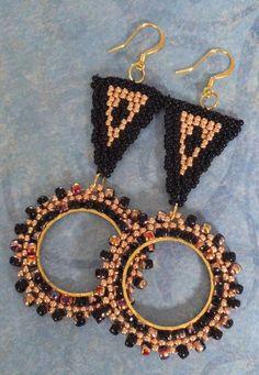 Pendientes de aldaba de puerta largo moldeado negro y cobre