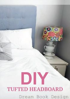 Learn how to craft your own DIY tufted headboard for the bedroom with these easy steps. :)