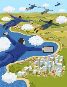 Stock Illustration : Business people flying through clouds holding digital…