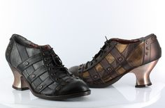 Jade- A low heeled bootie with laces and screws. The perfect shoe to complete your steampunk look!   #ShoeOfTheDay #HadesFootwear #Jade